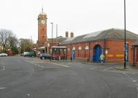 The imposing exterior of Whitley Bay station, once a busy station on the North Tyneside loop which dealt with both commuter traffic and holiday excursions. It is still busy today but now only handles Metro light rail traffic. <br><br>[Malcolm Chattwood&nbsp;02/12/2012]