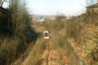 Track lifting operations underway along the former Spen Valley line at Cleckheaton in February 1997, seen looking towards Low Moor. <br><br>[David Pesterfield&nbsp;14/02/1997]