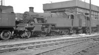 Withdrawn steam locomotives dumped at Llandudno Junction shed, thought to be in early 1963. From left to right are 42538, 40106 and 40098.<br><br>[K A Gray&nbsp;//1963]