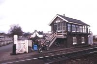 The signal box and level crossing at Ely North in October 1987.<br><br>[Ian Dinmore&nbsp;/10/1987]