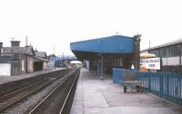 Platform view through Athenry station on the Dublin - Galway route in July 1988.<br><br>[Ian Dinmore&nbsp;/07/1988]