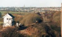 A long lost view across Crigglestone Junction down the then still intact and operational Horbury Branch, with the junction, signal box and cross-over all in situ. Scene in December 1987. [See image 46202] for a near identical view in April 1974.<br><br>[David Pesterfield&nbsp;31/12/1987]