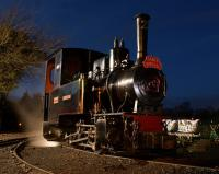 A clear December evening sky on 16 December 2012 gives a clue to the temperature as O&K 0-4-0 WT & T <I>Montalban</I> waits in the yard at Becconsall for the last 'Santa Special' of the weekend to return so that it can shunt the stock.<br><br>[John McIntyre&nbsp;16/12/2012]