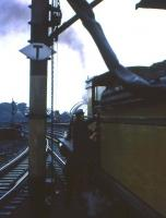 HR 'Jones Goods' no 103 takes water at the south end of Kilmarnock station on 17 October 1965 with a BLS special heading for Dumfries. The special returned north from Dumfries via Lochmaben, Lockerbie and the WCML [see image 21410]. <br><br>[Frank Spaven Collection (Courtesy David Spaven)&nbsp;17/10/1965]