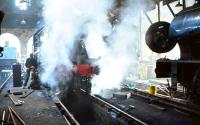 Steam on shed, Strathspey Railway, Aviemore, 9 June 1979.<br><br>[Peter Todd&nbsp;09/06/1979]