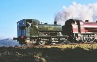 Barclay 0-4-0ST <I>Clyde</I> in action on the Strathspey Railway in April 1981.<br><br>[Peter Todd&nbsp;16/04/1981]