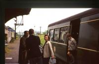 Members of the photographer's family climbing off a railbus at Dollar station in summer 1964. [See image 27868]<br><br>[Frank Spaven Collection (Courtesy David Spaven)&nbsp;//1964]