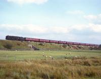 An unidentified 'Britannia' Pacific climbing Shap with a 10-coach train unassisted in the 1960s.<br><br>[Robin Barbour Collection (Courtesy Bruce McCartney)&nbsp;//]