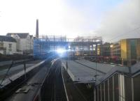 View west at Haymarket on 23 December 2012, with and the second phase of the new footbridge now in position.<br><br>[John Yellowlees&nbsp;23/12/2012]