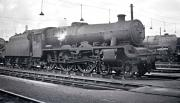 Part of the shed yard at Longsight, Manchester, thought to be in 1959. Nearest the camera is Jubilee 4-6-0 no 45631 <I>Tanganyika</I> with Britannia Pacific no 70033 <I>Charles Dickens</I> standing just beyond.<br><br>[K A Gray&nbsp;//1959]