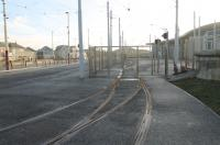 It's not only the national rail network that was closed for Christmas. A film of rust on the rails and locked gates to Starr Gate Depot on Boxing Day morning show that Blackpool trams were not running either. The new Starr Gate tram terminus can also be seen to the left of the fence.<br><br>[Mark Bartlett&nbsp;26/12/2012]
