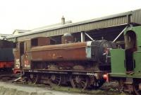 Chimneyless Collett 5700 class GWR 0-6-0PT no 4612 wearing a smile in Haworth Yard on 16 April 1981 after rescue from Barry in January that year.<br><br>[David Pesterfield&nbsp;16/04/1981]