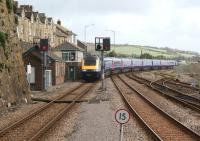 With a few hundred yards to go, a First Great Western HST approaches the end of its journey, Penzance station, on 22 April 2012, having travelled all the way (ecs) from the carraige sidings at Long Rock.<br><br>[John McIntyre&nbsp;22/04/2012]