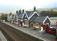 View north over Settle station from the footbridge in November 2004.<br><br>[John Furnevel&nbsp;03/11/2004]
