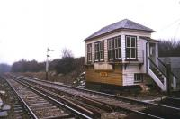 The SER signal box at Battle, photographed from the level crossing in February 1986. [See image 41763]<br><br>[Ian Dinmore&nbsp;10/02/1986]