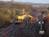 Renewal of the up loop point at Inverkeithing East Junction on 6 January 2012.<br><br>[Bill Roberton&nbsp;06/01/2012]