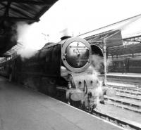 Stanier 'Coronation' Pacific no 46247 <I>City of Liverpool</I> stands alongside platform 6 at Crewe Station in April 1962 with a southbound service thought to be off the North Wales coast route. <br><br>[David Pesterfield&nbsp;30/04/1962]