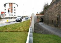 The south portal of Ladhope Tunnel on 6 January 2013, with the new retaining wall between the A7 and the cutting completed, all plant and equipment removed and the walking/cycling route reopened [see image 38125]. <br><br>[John Furnevel&nbsp;06/01/2013]