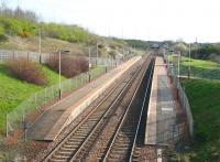 Not one of the most memorable stations. Looking east at Carmyle in April 2007 from the A763 Carmyle Avenue.  Served by trains on the Glasgow Central - Whifflet line, the station and line reopened to passengers in 1993 [see image 10481].<br><br>[John Furnevel&nbsp;01/04/2007]
