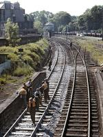 View west from Morningside Road station in June 1971, with track renewal work in progress on the down line. Morningside Road signal box stands in the background.<br><br>[Bill Jamieson&nbsp;07/06/1971]