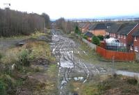 View south over Newtongrange station site on 6 January 2013. No noticeable change since the last visit in October, other than the appearance of various wooden stakes around the site.<br><br>[John Furnevel&nbsp;06/01/2013]