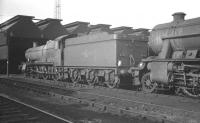 Ex-GWR 'Grange' class 4-6-0 no 6838 <I>Estevarney Grange</I> stand in the shed yard at Crewe South on 31 March 1963. The locomotive was a visitor from 86G Pontypool Road. <br><br>[K A Gray&nbsp;31/03/1963]