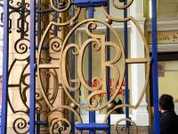 Gate detail near the entrance to Marylebone station in January 2013.<br><br>[Peter Todd&nbsp;12/01/2013]