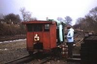Investigating the motorised PW trolley in the yard at Bedale in February 1982.<br><br>[John McIntyre&nbsp;/02/1982]