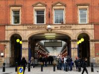 Last but not least. Entrance to the Great Central Railway's 1899 London terminus at Marylebone in January 2013.<br><br>[Peter Todd&nbsp;12/01/2013]