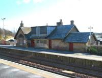 The station buildings on the westbound platform at Shotts on a bright and frosty February morning in 2006. The bridge carrying Station Road over the railway is just off picture to the left. <br><br>[John Furnevel&nbsp;13/02/2006]