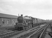 Jubilee 4-6-0 no 45622 <I>Nyasaland</I> approaching Carlisle from the south. The locomotive is carrying a 17B (Burton) shed plate which would date the photograph as 1963/64.<br><br>[K A Gray&nbsp;//]