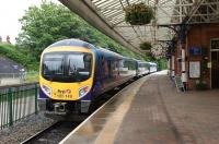 A First TransPennine service to Manchester Airport is about to depart from Poulton-le-Fylde on 16 June 2012.<br><br>[John McIntyre&nbsp;16/06/2012]