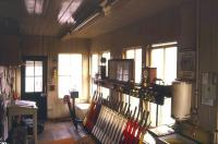 Interior of the SER signal box at Battle in February 1986 [see image 41535].<br><br>[Ian Dinmore&nbsp;10/02/1986]