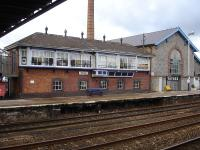 Totnes Station's long former signal box building sited behind the up platform and accessed from the footbridge steps half landing is now used as a cafe. Other than the cafe signs as a giveaway it could be taken for an operational box <br><br>[David Pesterfield&nbsp;15/01/2013]