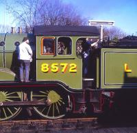 B12 4-6-0 no 8572 being prepared for the off at Sheringham on 4 March 1995.<br><br>[Peter Todd&nbsp;04/03/1995]