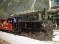 Zillertalbahn No. 3 'Tirol', a two cylinder 0-6-2T of class Uv (the v stands for Verbund = compound), has arrived at Mayrhofen with the afternoon tourist working from Jenbach in the mid-1990s.<br><br>[Bruce McCartney&nbsp;//]