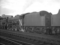 Lineup at Kingmoor shed on 17 October 1964, with Jubilee 4-6-0 no 45689 <I>Ajax</I> centre stage.<br><br>[K A Gray&nbsp;17/10/1964]