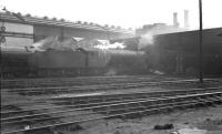 A haze hangs over the busy shed yard at Heaton, thought to be in 1960. In the centre of the photograph stands one of the shed's allocation of V2 2-6-2 locomotives, no 60932.<br><br>[K A Gray&nbsp;//1960]
