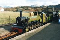Ravenglass & Eskdale Railway's 2-6-2 <I>River Irt</I> couples up to coaches at Eskdale (Dalegarth) terminus in January 1992 after running round ready to return to Ravenglass. <br><br>[David Pesterfield&nbsp;16/01/1992]