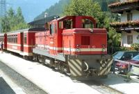 B-B diesel-hydraulic No. D10 of the 760mm gauge Zillertalbahn in Austria awaits departure from Mayrhofen with a service train to Jenbach in the mid 1990s. The ZB now operates an intensive service between the main line junction at Jenbach and the Mayrhofen terminus, using a mix of dmus and push-pull sets with modern diesel locos. [See image 42089]<br><br>[Bruce McCartney&nbsp;//]