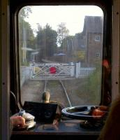 There are two level crossings on the Wirksworth branch, one on the South side of Wirksworth; the other, shown here, being North of Idridgehay station. Here is the 'second man's view', heading South in September 2012.<br><br>[Ken Strachan&nbsp;15/09/2012]