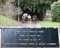 The south portal of Rodney Street Tunnel on 8 January 2013 complete with walkers, bikers and shoppers. Photograph taken from the site of Scotland Street station. Below is a close-up of the commemorative plaque that now adorns the wall to the right [see image 41645].<br><br>[John Furnevel&nbsp;08/01/2013]