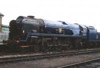 Rebuilt 'Merchant Navy' class no 35005 <I>Canadian Pacific</I> at Tyseley on 4 October 1998. The locomotive was receiving attention after running a hot bearing.<br><br>[Peter Todd&nbsp;04/10/1998]