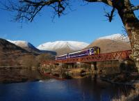 An eastbound Sprinter crosses the Orchy Viaduct under a perfect blue sky in December 2012.<br><br>[Ewan Crawford&nbsp;11/12/2012]