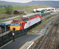<I>'Sorry about this Milady...'</I>  Scene at Kirkby Stephen on 15 April 2006 with Virgin 'Thunderbird' no 57307 <I>Lady Penelope</I> in the cattle dock.<br><br>[Peter Rushton&nbsp;15/04/2006]