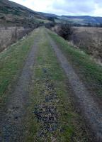 A mile east of Rachan Junction the lonely trackbed of the Caledonian Railway's extension east from Broughton to Peebles stretches off into a wild landscape. Here and there the ballast remains nearly intact.<br><br>[Ewan Crawford&nbsp;06/01/2013]