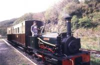 Hunslet Quarry 0-4-0ST <I>Alan George</I> (606/1894) in steam on the Teifi Valley Railway at Henllan in May 1988.<br><br>[Ian Dinmore&nbsp;/05/1988]