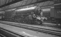 B1 4-6-0 no 61216 stabled inside the shed at 52B Heaton in the early 1960s.<br><br>[K A Gray&nbsp;//]