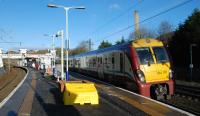 The new footbridge at Hyndland station is now in use and the old one removed. A Helensburgh - Edinburgh service pauses in February 2013.<br><br>[Ewan Crawford&nbsp;02/02/2013]
