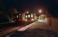 On a crisp cold night in 1994 two Sprinters pass at Glenfinnan on the Mallaig Extension. This view looks east.<br><br>[Ewan Crawford&nbsp;27/12/1994]